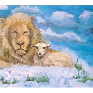 The lion embraces the lamb in a winter scene