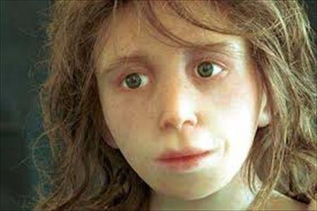 ネアンデルタール人の少女の頭蓋骨からの復元図