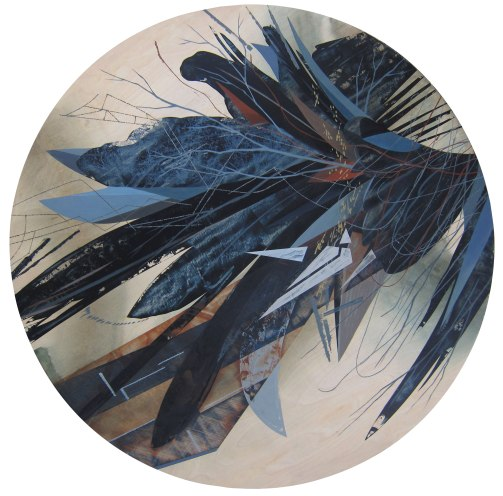 """""""Accumulation #2"""", Acrylic on table top, 48"""" diameter"""