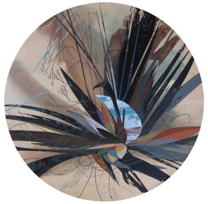 """""""Accumulation #3"""", Acrylic on table top, 48"""" diameter"""