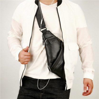 Сумка через плечо мужская ArtX #064 кожаная черная
