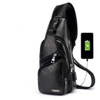 Рюкзак-сумка-кобура ArtX Cross Body кожа черный #090K