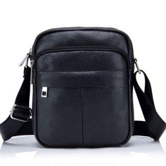 Мужская кожаная сумка через плечо ArtX CrossBody черная #71-1