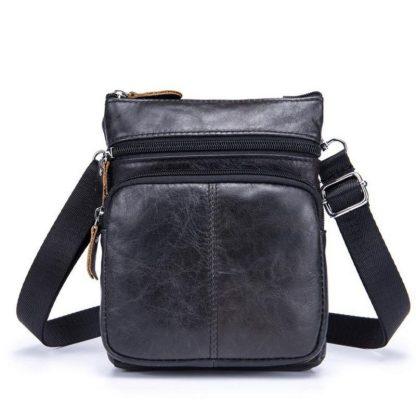 Сумка на плечо ArtX кожаная черная #072-1