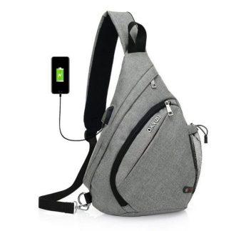 Рюкзак-сумка однолямочный ArtX Cross Body серый #095-6