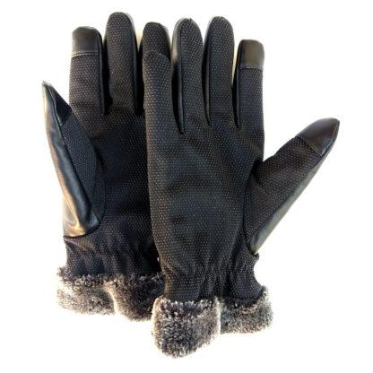 Мужские кожаные сенсорные перчатки ArtX Sensor черные #300