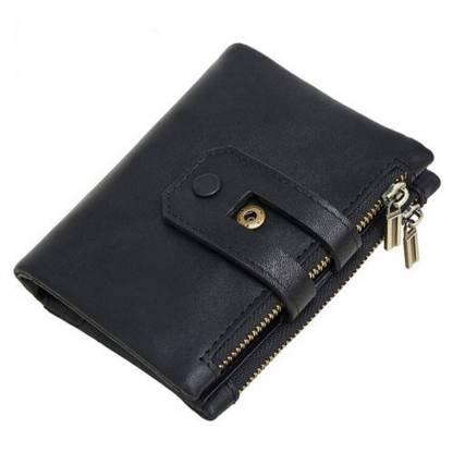 Кошелек кожаный c защитой ArtX RFID черный #181-1