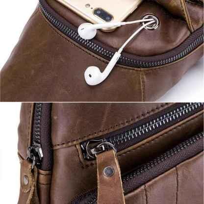 Нагрудная сумка кобура кожаная ArtX Cross Body #090-3SH коричневая