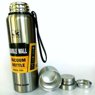 Термос ArtX JK повністю з нержавіючої сталі 1 літр сріблястий #450-1