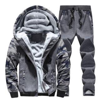 Тёплый спортивный костюм на меху ArtX Camo серый #311-40