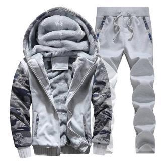 Тёплый спортивный костюм на меху ArtX Camo светло-серый #312-40