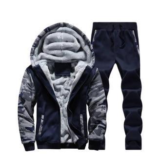 Тёплый спортивный костюм на меху ArtX Camo темно-синий #313-44