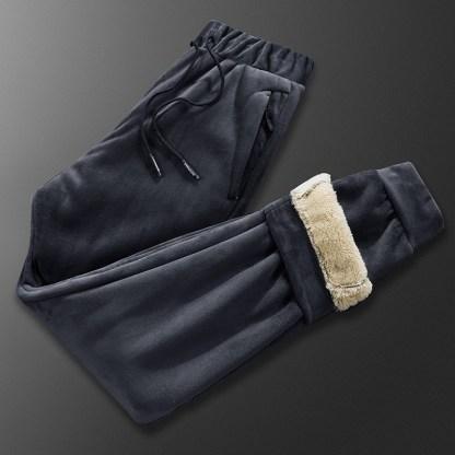 Мужской теплый велюровый спортивный костюм на меху ArtX серый #316-2
