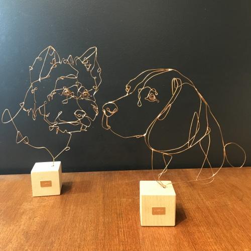 profilo-sculpture-fil-de-bronze-chien-west-highland-et-beagle-artydandy