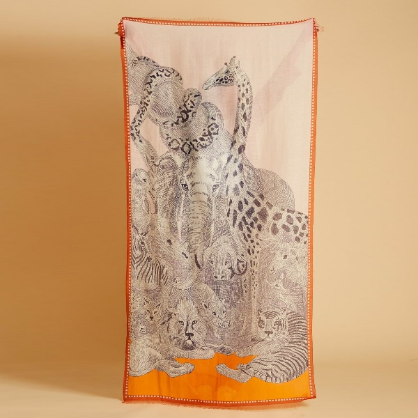 Inouitoosh-foulard-coton-orange-ete-2021-balto-animaux-savane-artydandy
