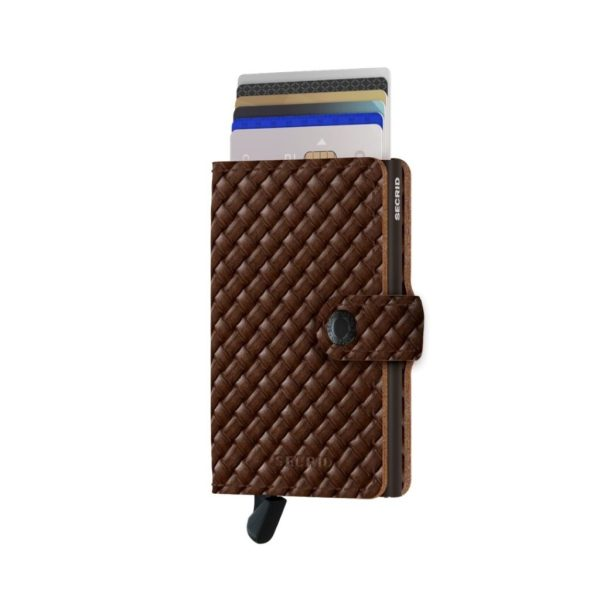 Secrid-porte-cartes-cuir-tresse-marron-front-avec-cartes-artydandy