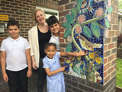 Stella Creasy with local school children