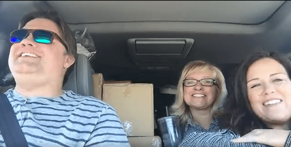 A screenshot from the live video we did from the road. The car was PACKED!