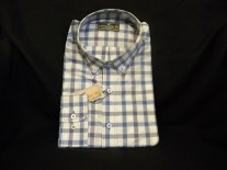 Casual Blue and White Gingham Guy's Shirt XL