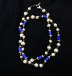 Stunning Cobalt Enamel, Faux Pearl and Diamond Strand