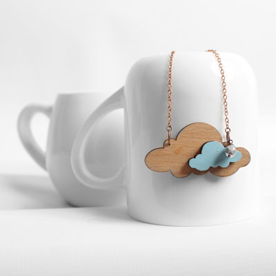 cloud origami wooden necklace