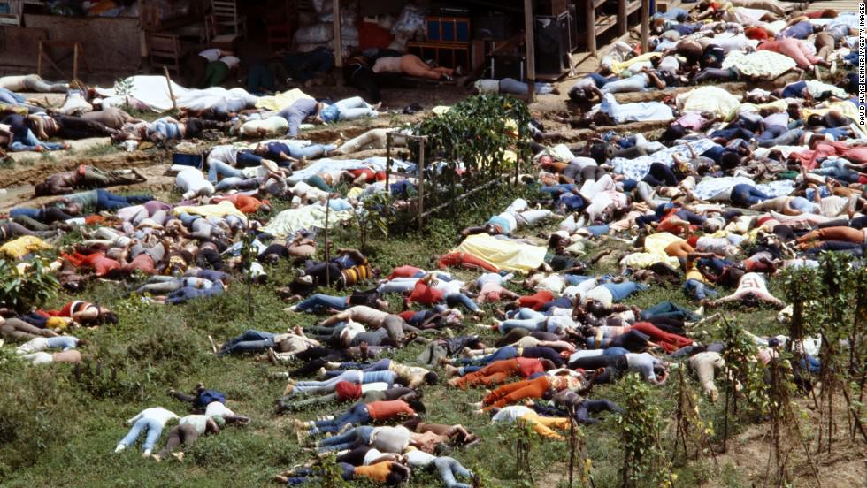 JONESTOWN, GUYANA - NOVEMBER 18: (NO US TABLOID SALES) Dead bodies lie around the compound of the People's Temple cult November 18, 1978 after the over 900 members of the cult, led by Reverend Jim Jones, died from drinking cyanide-laced Kool Aid; they were victims of the largest mass suicide in modern history. (Photo by David Hume Kennerly / Getty Images)