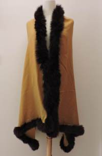 Yellow Pashmina Shawl With 4 sides Black Fur Trim - Artzest