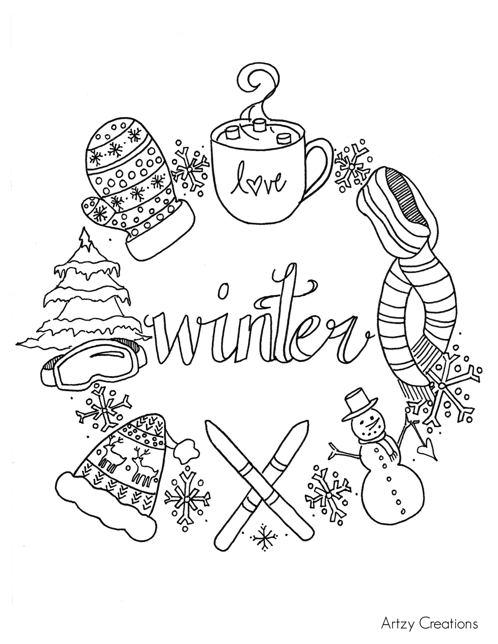 Free Winter Coloring Page - artzycreations.com | winter coloring pages for adults