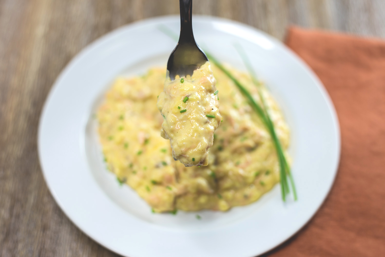 Soft scrambled eggs with salmon and cream cheese are a great way to start your day!