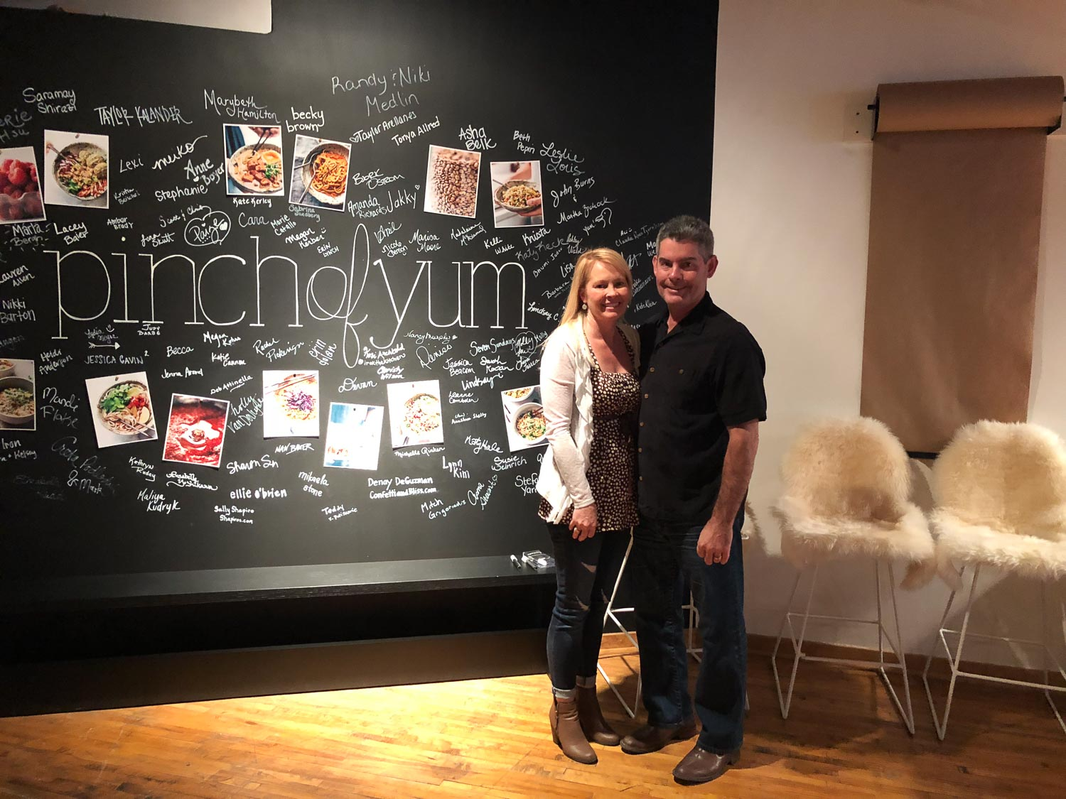 Randy and Me in Front of Chalkboard Pinch of Yum Workshop
