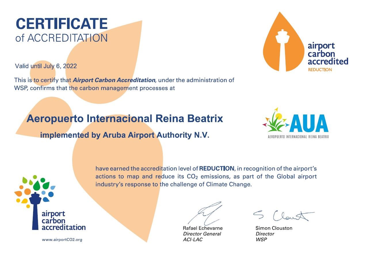As part of the airport's corporate strategy to be the most sustainable airport in the region:AUA Airport receives Airport Carbon Accreditation Level 2