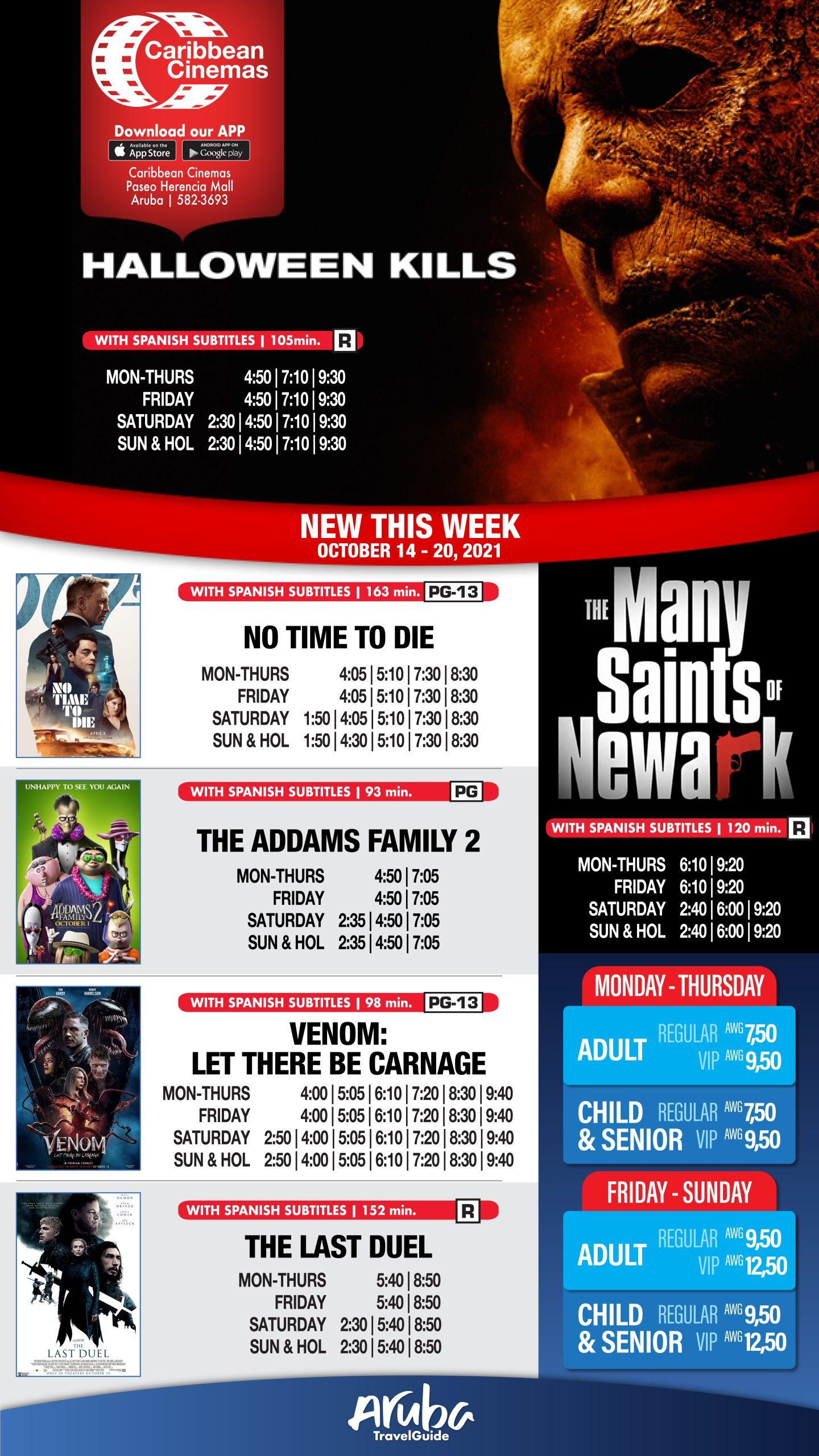 Movie Schedule October 14 – 20, 2021