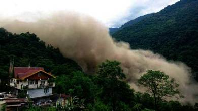 Photo of Massive Landslide in North Sikkim, Created Artificial Lake