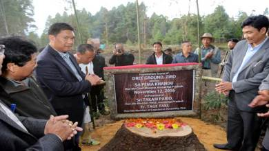 Photo of Ziro- Khandu lays foundation stone for Central Dree ground