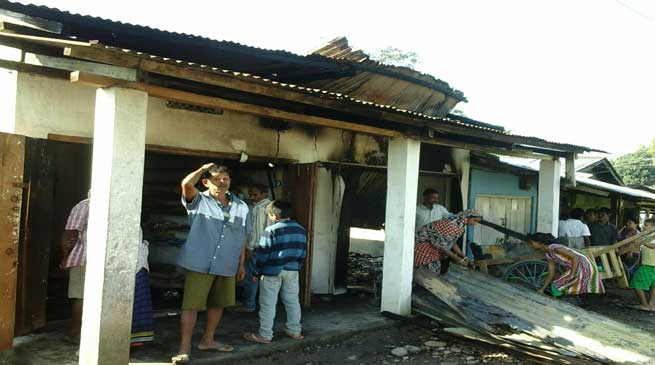 Six Shops at Kharsang Bazar Gutted to Ashes