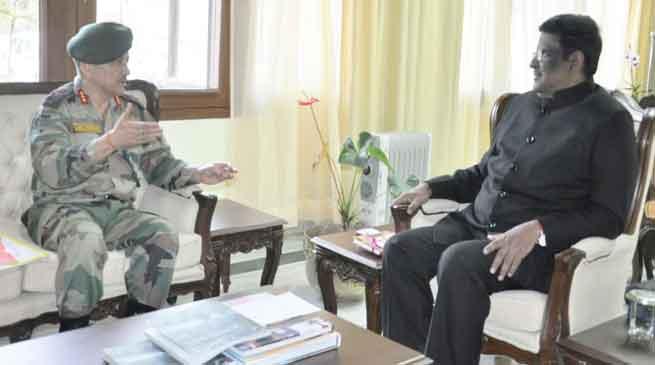 Goc 3 Corps Anil Chauhan meets Arunachal Governor S V. Shanmuganathan
