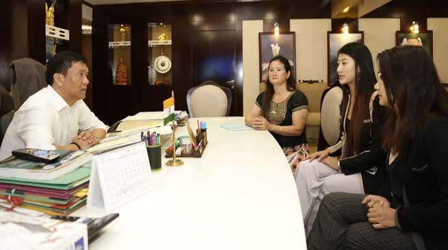 Model Licha Thosum meets CM Pema Khandu