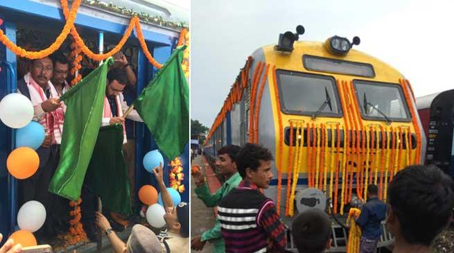 Rajen Gohain flags off DEMU train between Silghat & Guwahati