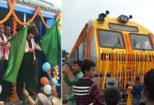 Photo of Rajen Gohain flags off DEMU train between Silghat & Guwahati