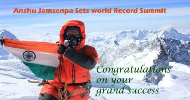 Anshu Jamsenpa of Arunachal Sets world Record Summit