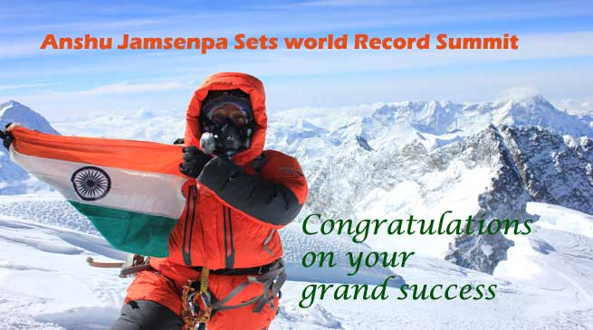 Anshu Jamsenpa of Arunachal Sets world Record Summit