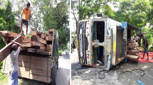Kokrajhar- Police seizes Illegal timber laden truck