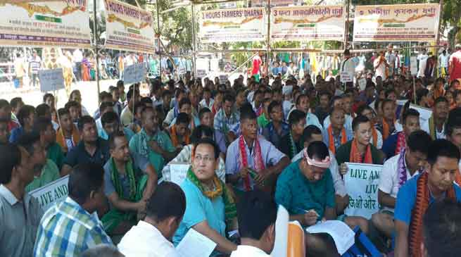Farmers dharna in support of Bodoland state