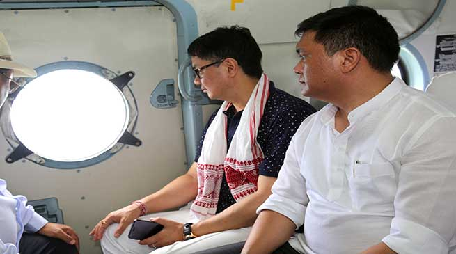Pema and Rijiju conducted aerial survey of Flood affected areas in the state