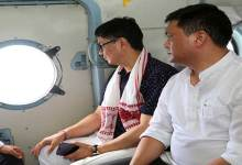 Photo of Pema and Rijiju conducted aerial survey of Flood affected areas in the state