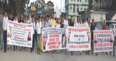 Aalo- candles march in protest of murder of Migrik Lomi