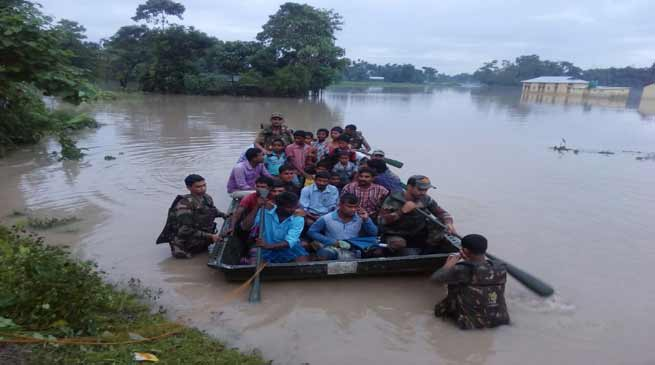 Army Rescues Flood affected people in lower Assam