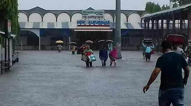 NF Railway cancelled several trains, flood water submerged tracks
