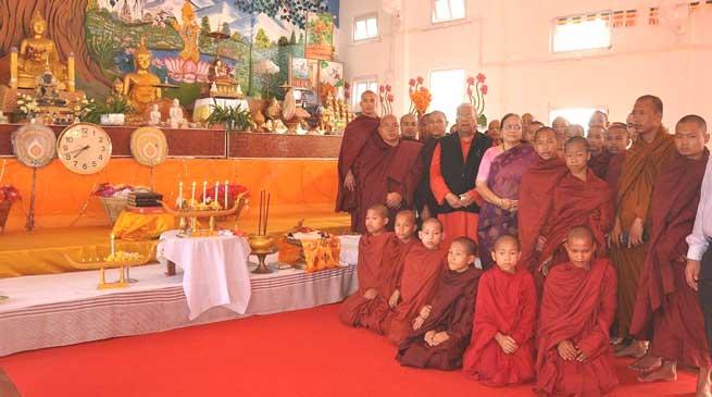 Namsai- GuvP B Acharya visits Buddhist Monastery