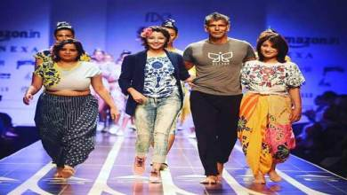 Photo of Anshu Jamsenpa walks the ramp at India Fashion Week
